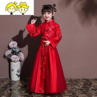 儿童汉服唐装女童拜年服冬加厚过年喜庆衣服女孩中国风童装新年装