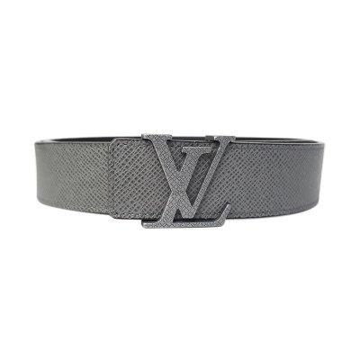 【正品二手95新】路易威登(LV)男士银灰色 LV标志头腰带 M6898 牛皮 全套含盒
