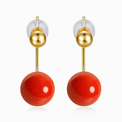 鑫萬福 雅慕 一款兩戴 6-7mm 18K金沙丁紅珊瑚耳釘/耳飾/珍珠耳環