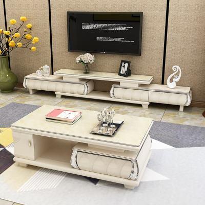杞沐伸縮電視柜茶幾組合套裝大理石現代簡約經濟型客廳鋼化玻璃電視柜