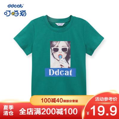 【季末清倉】叮當貓童裝女童韓版中大童針織T恤印花女孩潮流圓領針織衫夏季T恤衫
