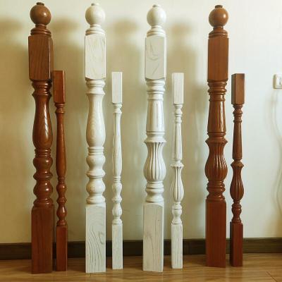 实木楼梯扶手立柱护栏木栏杆木楼梯栏杆围栏柱子家用室内简约现代 红橡木45*70扶手柚木色开放漆