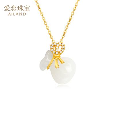 愛戀珠寶 和田玉葫蘆項鏈S925銀鍍金鑲玉項鏈福袋掛墜銀項鏈女款送媽媽