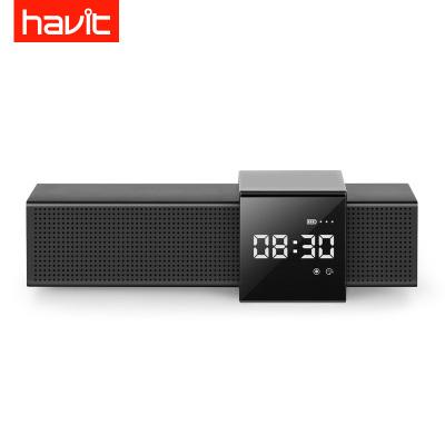 海威特(Havit)M28藍牙音箱無線時鐘鬧鐘2.0立體聲小音響FM收音機TF插卡低音炮車載手機電腦通用 黑色