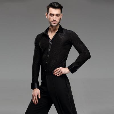 高端定制塑形好身材男士摩登舞服装拉丁舞上衣衬衫长袖国标舞舞蹈服成人恰恰舞服比赛训练舞蹈房团体