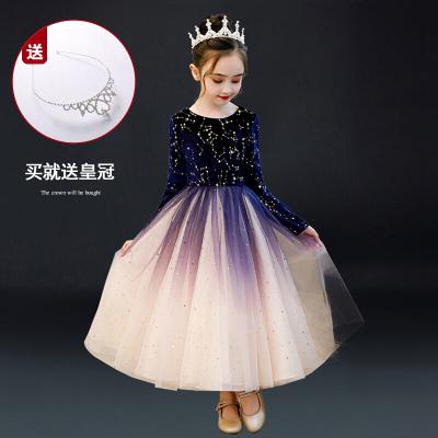 女童连衣裙2019秋装新款女孩长袖裙子加绒洋气儿童礼服公主裙秋冬