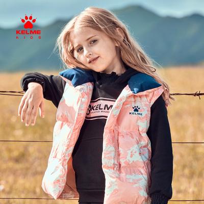 kelme(kids)兒童羽絨馬甲舒適保暖女童雙面穿羽絨背心