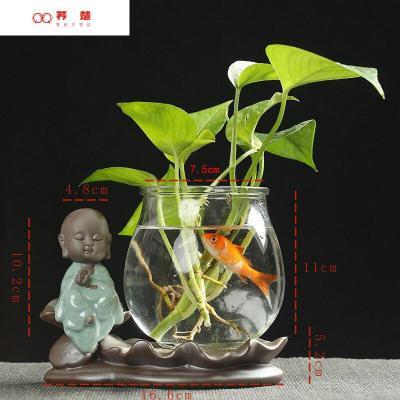 創意綠蘿水培植物花瓶玻璃透明容器水養中式花插陶瓷花盆器皿擺件 GD-水培花器02
