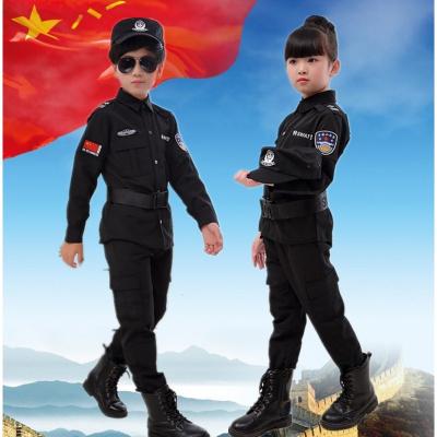 兒童通用演出服新款交警警察服套裝外出表演特警攝影服少兒童特勤練功服裝 臻依緣