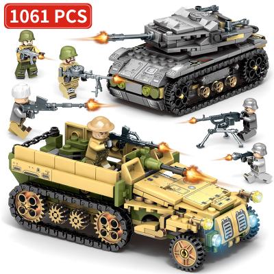 新森寶 兒童積木拼裝玩具益智6-14歲男孩子智力車女塑料模型兼容lego軍事城市警察 鋼鐵帝國坦克軍團【1061顆粒】