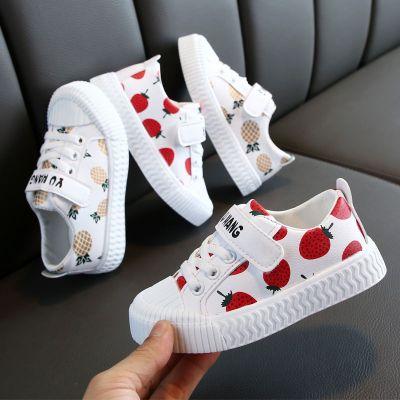 春秋新款小童鞋莓單鞋男女童軟底寶寶板鞋網紅菠蘿兒童潮鞋