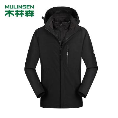木林森(MULINSEN)三合一兩件套羽絨棉內膽沖鋒衣加絨加厚保暖鎖溫釣魚服戶外服