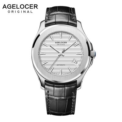 艾戈勒(Agelocer)瑞士手表 男士全自动机械表 男夜光防水手表 瑞士时尚休闲正装真皮手表baikal A6301
