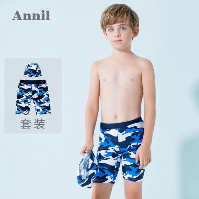 安奈兒童裝男童泳衣套裝平角泳褲2019夏裝新款男寶寶舒適短褲沙灘