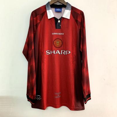 复古95-96曼联主场球衣 坎通纳 斯科尔斯 贝克汉姆长袖足球服