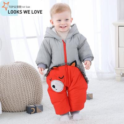 婴儿羽绒服连体衣冬季加厚哈衣儿幼儿宝宝加绒外出抱衣爬爬服
