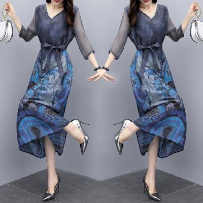 與牧2020夏季新款女裝印花氣質長裙收腰顯瘦時尚中長款連衣裙女夏