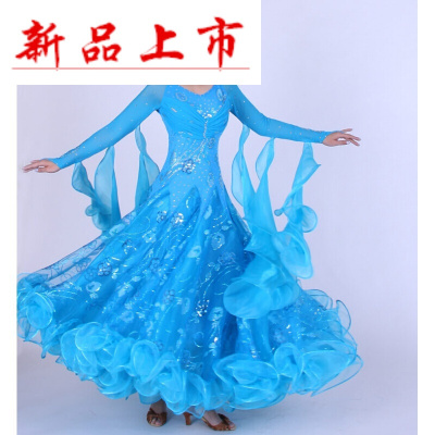 因樂思(YINLESI)中老年媽媽摩登舞裙交誼舞大擺連衣裙新款2018華爾茲探戈國標舞比賽演出服裝