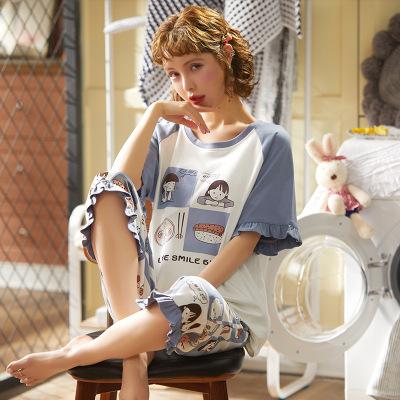 睡衣女士春夏純棉薄款短袖七分褲韓版可愛風學生休閑套裝家居服