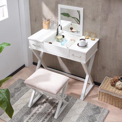 越茂 北欧梳妆台 卧室翻盖化妆桌现代简约小户型迷你化妆台梳妆桌