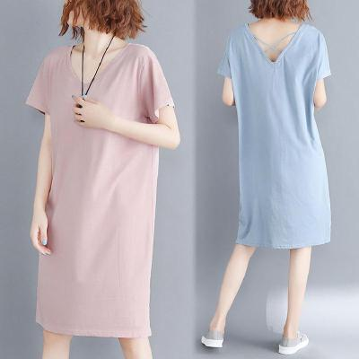 睡衣女夏純棉睡裙寬松大碼短袖夏天薄款家居服中長款全棉外穿裙子 莎丞