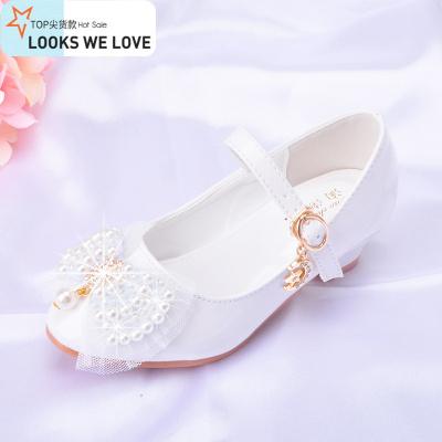 秋款5 6 9岁女童高跟鞋白色公主皮鞋演出软底鞋单鞋儿童舞蹈鞋