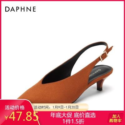 Daphne/达芙妮秋新款尖头复古绒面猫跟鞋细跟单鞋女1018402011