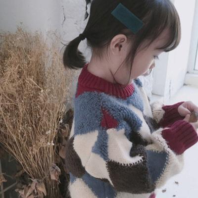 女童毛衣新款童装秋冬中大童套头格子线衣洋气上衣儿童针织衫小童
