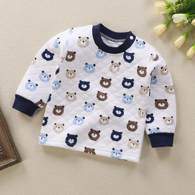 兒童內穿男童保暖上衣三層夾棉加厚秋衣單件女童內衣純棉秋冬寶寶
