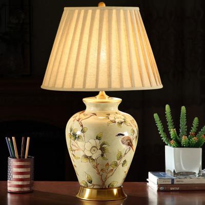 大氣復古美式陶瓷臺燈簡約客廳臥室現代仿古布藝全銅臺燈