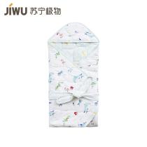 苏宁极物全棉针织印花小海豚婴童裹被 蓝色 70×70cm