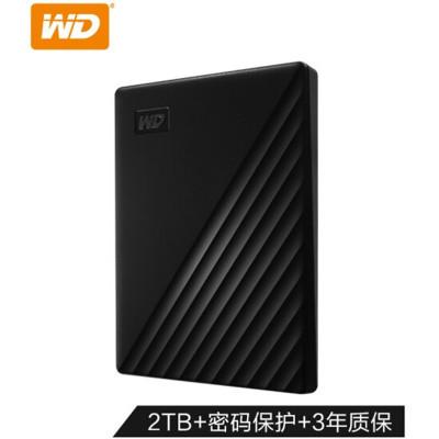 西部数据(WESTERN DIGITAL)1TB 2.5英寸 新款加密便携式硬盘 WD 西数USB3.0 移动硬盘 黑色