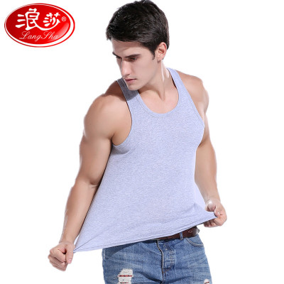 浪莎langsha男士棉背心男1件純色薄款四季無袖工字型修身型運動打底汗衫