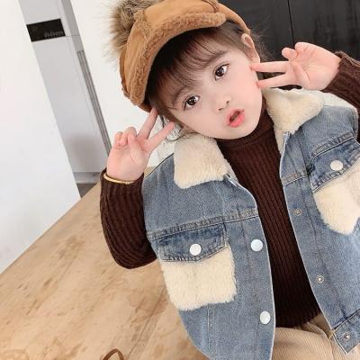 【精品特賣】男女童秋冬款牛仔馬甲兒童寶寶外套羊羔毛加絨洋氣外穿坎肩馬夾潮