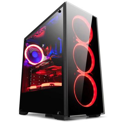 金河田预见N17台式机游戏机箱水冷背线大侧透ATX大板电脑机箱 黑色