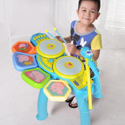 小猪佩奇架子鼓儿童初学者乐器手拍敲打爵士鼓佩琪玩具礼物1-3-6