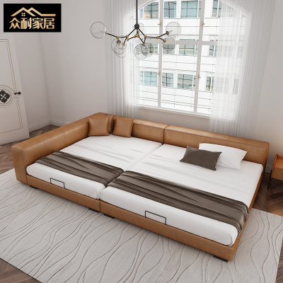 眾耐意式極簡二胎子床三人家庭真皮床組合拼接大榻榻米軟床