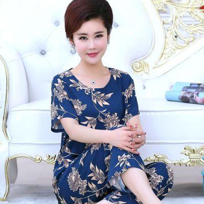 夏季睡衣女寬松舒適薄款中老年媽媽兩件套綿綢可外穿家居服莎丞