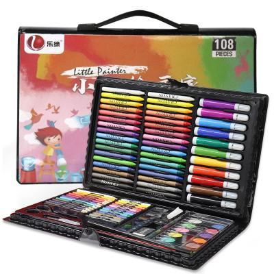 樂締108件兒童畫筆套裝繪畫工具盒 文具玩具畫筆 可水洗水彩筆蠟筆美術鉛筆