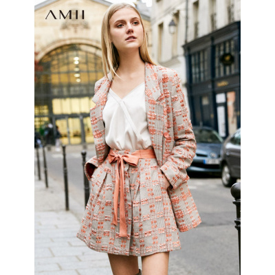 Amii极简小香风法式套装裙2019春季新款西装外套女裙子两件套