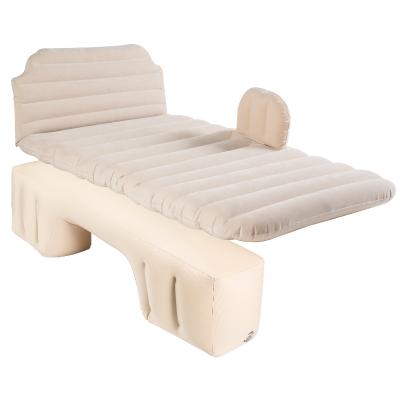 车载充气床汽车用品床垫后排旅行床轿车内上后座闪电客SUV睡觉垫气垫床 象牙白 护头挡+耐磨植绒竖纹