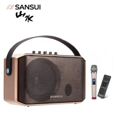 山水(SANSUI)SA1-05 戶外廣場舞音響 藍牙音箱便攜式手提移動音響內置電池配無線麥克風遙控器5英寸全頻低音