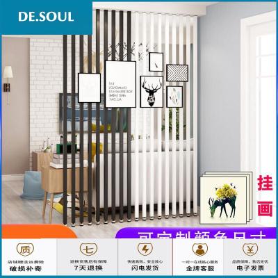 中式實木屏風簡約隔斷客廳北歐入戶鐵藝隔斷立柱玄關原木木條柱子裝飾豎條