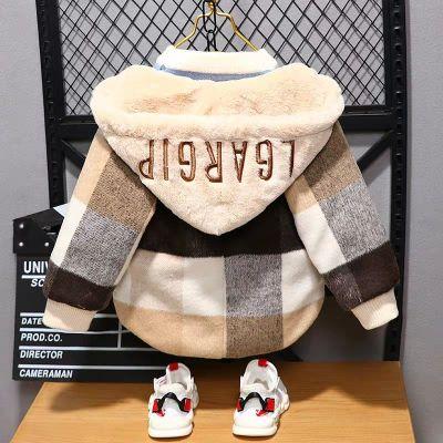 儿童毛呢外套男童2019新款冬装宝宝加绒加厚呢子大衣小童洋气开衫威珺