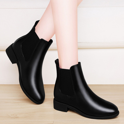 帝紫规短靴女士靴子皮靴秋冬新款马丁靴女英伦风加绒舒适橡胶大底特色粗跟短毛绒靴子女鞋