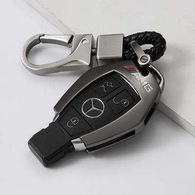 富屯 奔驰钥匙包C200L套CLA钥匙扣C180L改装汽车C级gla200glc260钥匙壳包 A款-亮黑色-三代随身扣