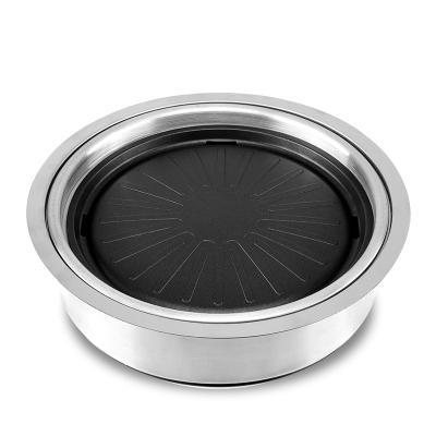商用電烤爐烤肉店古達韓式電熱無煙燒烤鍋圓形方形紙上烤肉盤室內自助 圓形上排式