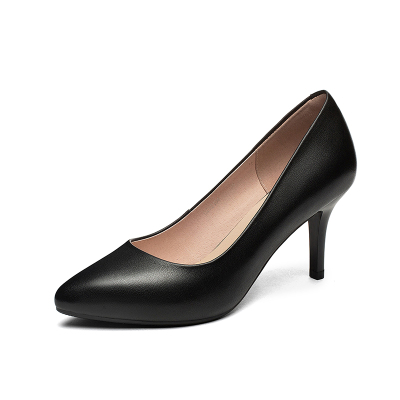 策霸2020经典高端工作鞋新款女鞋高跟鞋尖头真皮职业细跟浅口单鞋舒适百搭