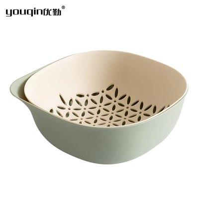 優勤洗菜籃雙層塑料果蔬籃廚房家用瀝水籃創意水果盤洗菜盆神器客廳