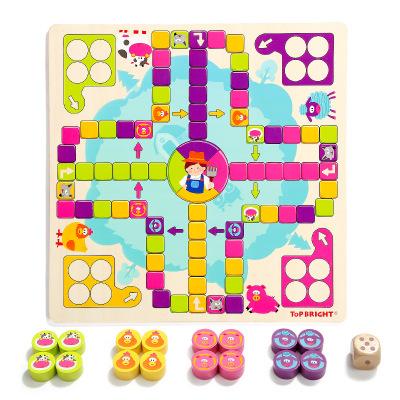 特寶兒(topbright)開心飛行棋兒童玩具 3歲以上 女孩男孩 木制 益智玩具 120341